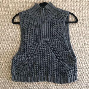 Grey Sleeveless Turtleneck Sweater